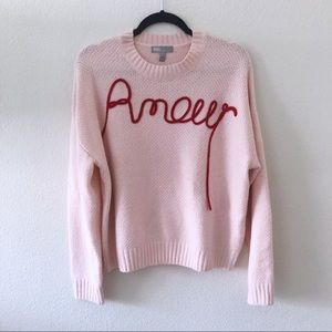 ASOS amour pink crew neck knit sweater
